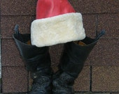Santa Hat of  White Shearling and Red Leather - Bespoke