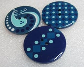 Shades of Blue Ocean Colored Buttons Dots, Designs