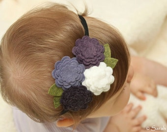Wool Felt Flower Headband - Lavender, Plum Purple