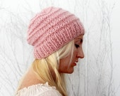 Hand Knit Beanie Pink Slouchy Hat Beanie in pink Knit Tam Hat Knitted Slouchy Hat Mohair Beanie Rose Quartz Womens Slouchy Hat Gift for Her