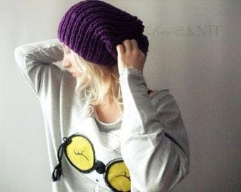 Unisex Winter Beanie Hand Knitted Purple Slouchy Beanie Womens Baggy Beanie Mens Winter Hat Womens Tam Hat Chunky Knit Beanie Loose Beanie
