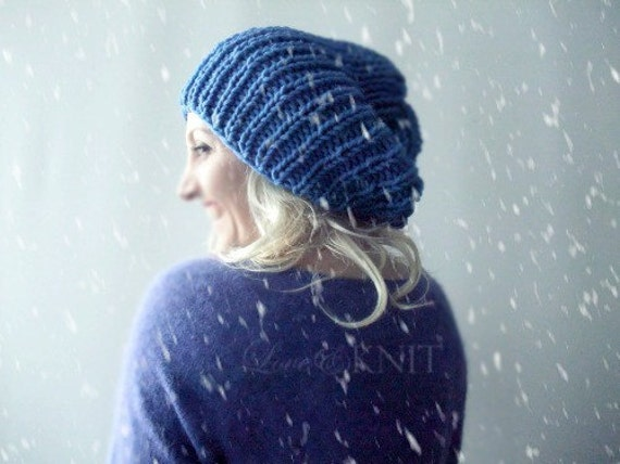 Hand Knit Blue Winter Hat  Slouchy Hat  Wool Beanie  Womens Slouchy Hat  Mens Slouchy Hat Blue Baggy Beanie Loose Beanie Hat Knit Hat