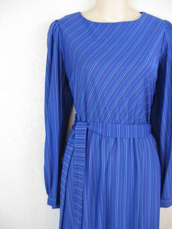 blue stripe dress. 1970's rainbow pinstripe. medium. new old stock.