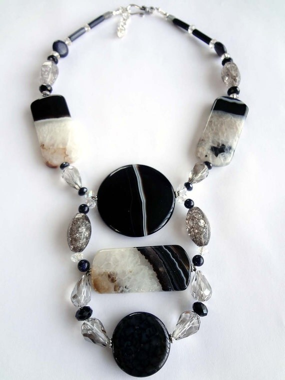 Contemporary Chunky Big Bold Statement Necklace Pendant Geometric Art Black and White