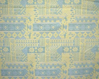 Mod Blue and Yellow Flower Power Retro 1960s Vintage Mid Century Fabric OVER 6 Yards
