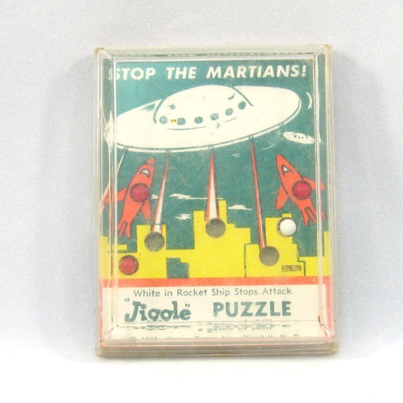 Vintage 1957 Stop the Martians Dexterity Game