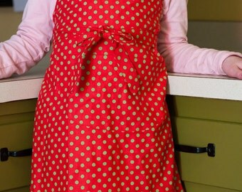 Apron Child or Toddler Boy Girl Red Polka Dot Children