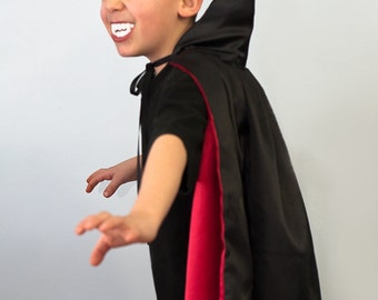 Handmade Child Cape Vampire Wizard Witch Costume Scary Halloween Kids Children Green, Pink,Red or Purple  Photo PropLining