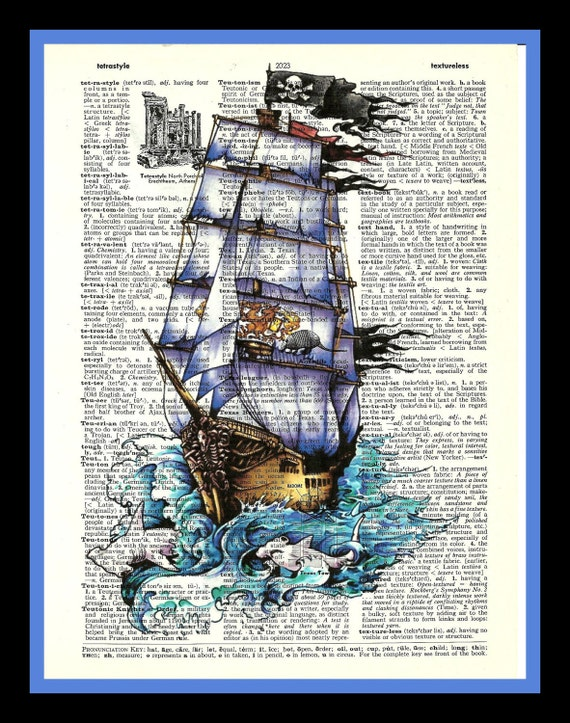Buy Any 2 Prints get 1 Free Pirate Ship  Vintage Dictionary Art