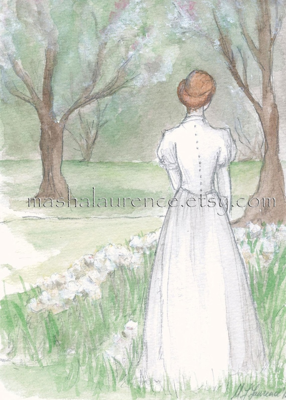 Anne in Hester Gray's garden.  Original watercolor. 5x7. Lucy Maud Montgomery.  Anne of Green Gables.