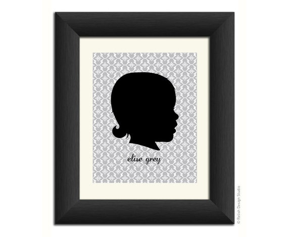 Personalized Silhouette Portrait - 8x10 - custom Mother's Day gift, child art, nursery decor, custom profile
