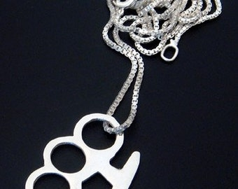 Sterling Silver Brass Knuckle Pendant