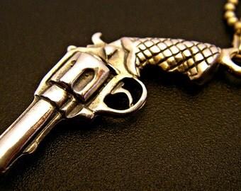 Sterling Silver Revolver Pistol Pendant