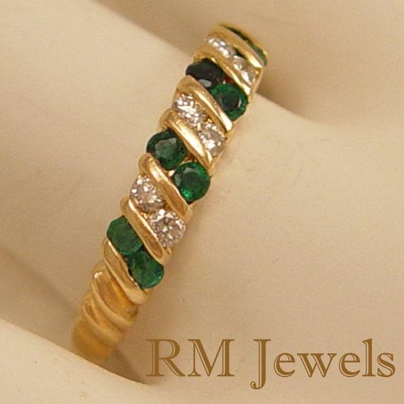 Fabulous Emerald & Diamond Band 14Kt Gold - Estate