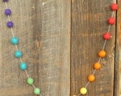 Color Block Garland   -  in six vibrant rainbow colors -- 18 felt balls,  about 3 feet long