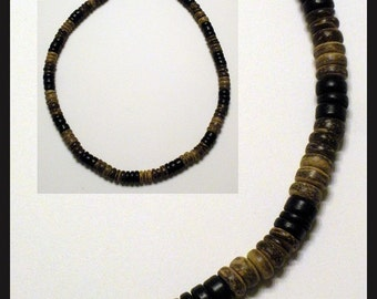 Hawaiian Surfer Necklace - Black, Dark Brown, and Light Brown Coco Beads (16 and 18 inch Size)