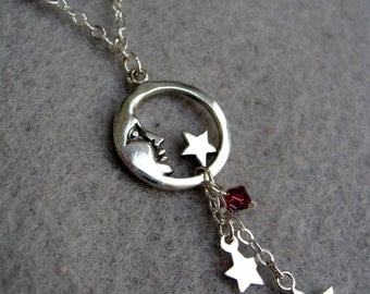 Silver Moon and Stars Necklace Sterling Silver Celestial Theme by BeadJewelled