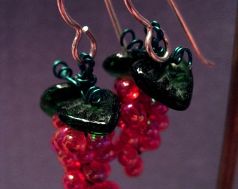 Grape Earrings, Hand Made of Glass Beads Silver Ear Wires, medium size available in various colours