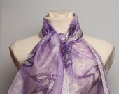 Elegant  Hand Painted Silk Scarf with Light Purple Tulips  Flowers Present White Silver 13 X 51 READY TO Ship
