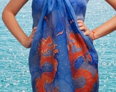 Unique Hand Painted Silk Chiffon Beach Wrap Sarong  Elegant  Dragon Scarf Red Orange Blue 33 X 54 READY TO SHIP - LigaKandele