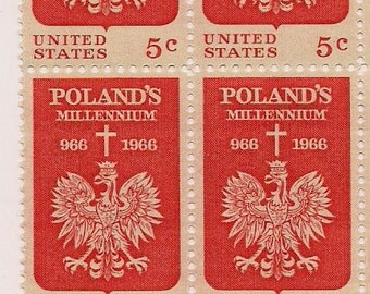 Poland postage stamps red vintage US Postage Stamps uncanceled plate block, unused United States stamps, Poland Millennium FREE SHIPPING