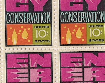 Postage stamps vintage Energy Conservation 1974 plate block FREE SHIPPING unused stamps