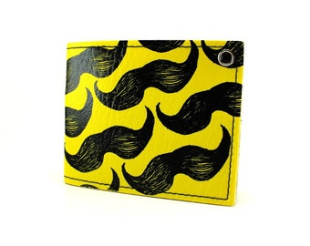 ON SALE - Yellow Mustache Wallet - Mo stache for yo buck
