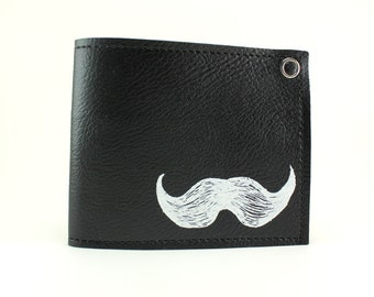 On Sale - Mustache Wallet - Black and White - Grow one or own one
