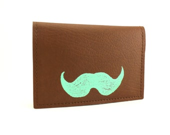 On Sale - Mustache Wallet - Brown and Mint Green Credit Card Mini Wallet