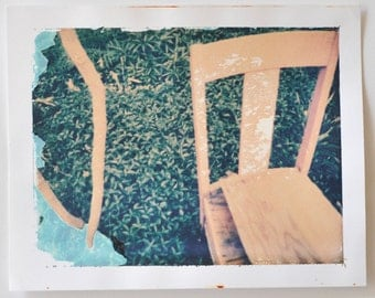 Polaroid Print Transfer Peeling Paint Pink Chair Love Yourself  Come Sit Painterly Photography Emulsion Print Pink and Green Photograph
