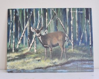 Vintage Deer Painting, Vintage Buck Painting, Vintage Animal Painting, Nature Painting, Oil Painting