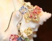 Earrings, sparkly, cluster of multi-colored Swarovski crystals