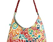 "Hobo handbag, bright colors with a tropical floral design and red, braided faux leather handle ""Rico"""