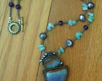 Pottery and Opal Necklace