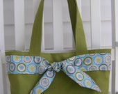 SALE Lime Green Dotted Tie Front Shoulder Bag