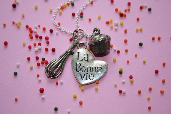 Cupcake Necklace - La Bonne Vie - Sterling Silver Plated Chain