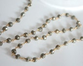 5 Feet, hand cut Pyrite Gemstones with Gold Plated Wire Chain