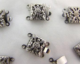 24  Silver Filligree Vintage Push Clasps 1960s