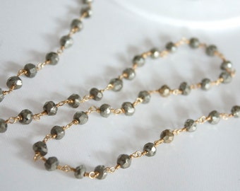 4 Feet Hand Cut Pyrite Gemstones with Gold Plated Wire Chain // Unfinished Chain // Jewelry Supply