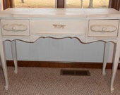 Pretty French Vanity and mirror with delicate swag flowers and bows by Shabby Home Furniture