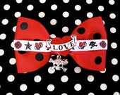 Tattoo Heart Sparkly Skull and Crossbones Polka Dot Hair Barrette