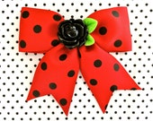 SALE - Pinup Black Rose Polka Dot Hair Bow - Red - Retro - Rockabilly - 1950s