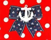 Retro Sailor Doll Anchors and Stars Hair Bow - Navy - Maritime - Nautical - 50s