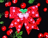 Cherry Explosion Sparkle Hair Bow - Red/Pink - Rockabilly - Pinup - 50s - Retro