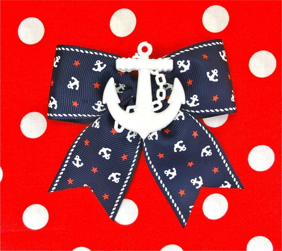 Retro Sailor Doll Anchors and Stars Hair Bow - Navy - Maritime - Nautical - 50s