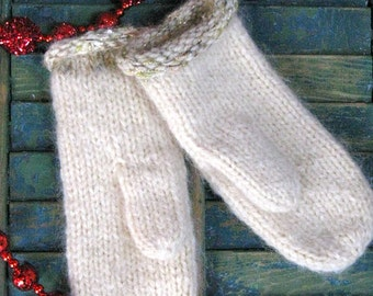 Handmade Hand Knit Wool Mohair Mittens CREAM
