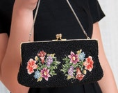 1950s Purse -  50s Vintage Beaded Purse & Floral Petit Point - Tapestry Clutch