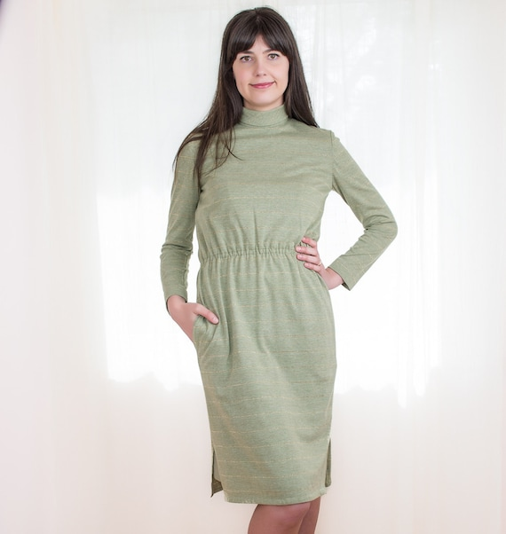 Vintage 1960s Green Dress - 60s Jersey Sheath Dress - Metallic Gold Striped Dress with Pockets - M