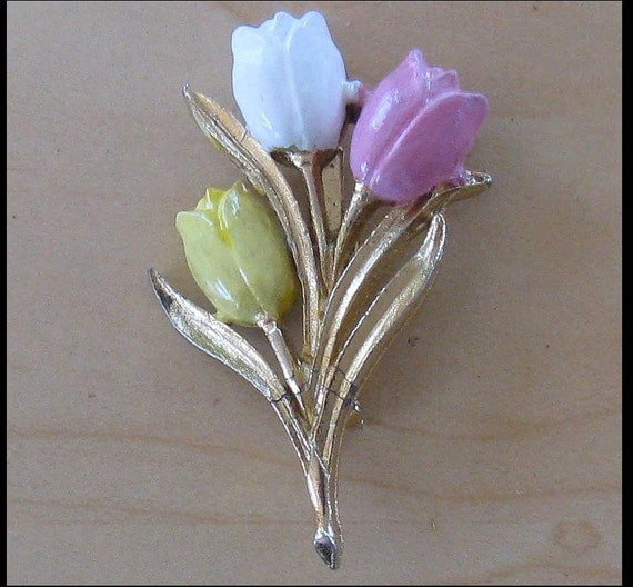 Enameled Tulip Brooch-Pin (B-1-3)