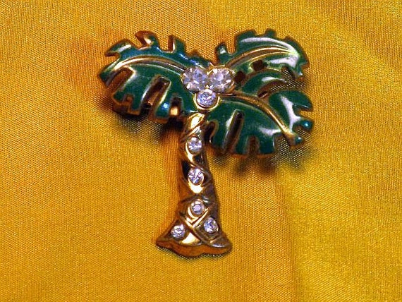 Enameled and Palm Tree Brooch (B-3-6)
